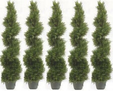"""5 CYPRESS SPIRAL TOPIARY ARTIFICIAL IN OUTDOOR TREE 4' 2"""" PLANT POOL PATIO BUSH"""