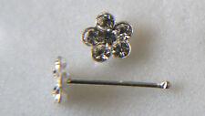 STERLING SILVER NOSE STUD FLOWER DESIGN RUB OVER BOBBLE END 3.8MMX7MM 0303