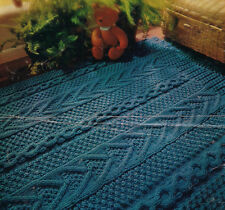 Knitting Pattern for 2 Vintage Aran Rugs in Traditional Irish Stitches