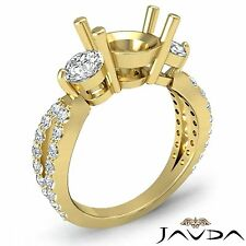 Classic Three Stone Diamond Wedding Ring 14k Yellow Gold Round Semi Mount 1.3Ct