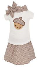Toddler Kid Girls T-shirt Skirt Thanksgiving Fall Fashion Set Clothes US 2t 3t 4