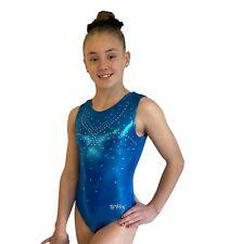 NEW OCEAN BLUE SHINY FOIL CInt 47cm Girls 6 Gymnastic Dance Bodysuit Leotard