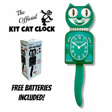 "Green Beauty Lady Kit Cat Clock 15.5"" Gratis Batería Hecho en El Eeuu Kit-Cat"
