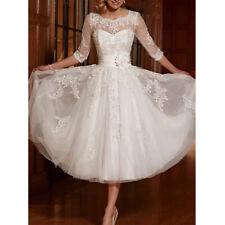 Spitze Standesamt Brautkleid Hochzeitskleid Kleid Braut 3/4 Ärmel BC929 46 ivory