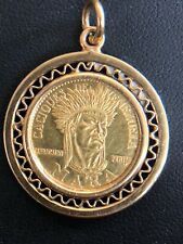 1957 Venezuela Indian Chief Mara 90% Gold Coin in 18kt Yellow Gold Bezel