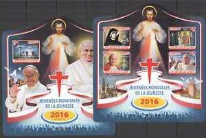 ST128 2016 GUINEA WORLD YOUTH DAYS ART POPE JOHN PAUL II 1KB+1BL MNH