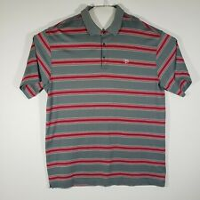 Tiger Woods Collection Men's XL Golf Polo Shirt Gray/Red Striped Nike Fit Dri