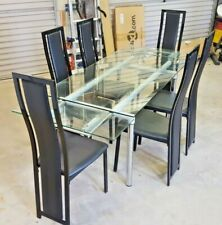 large next glass table with extending ends + 6 high quality chairs V.G.C.