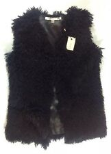 NEW STUDIO M Eyelash Fur Vest Size XS XSmall Black Knit Dress Jacket Fringe Coat