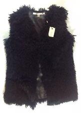 NEW STUDIO M Eyelash Fur Vest Size XS XSmall Black Knit Dress Jacket Fringe Coat