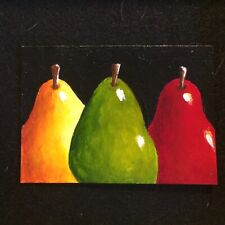 ACEO Original Painting Red Pears Yellow Green Pears Fruit Foodie Kitchen Art