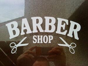 "8x4"" barber shop sign scissors window mirrors doors salon barbers vinyl sticker"