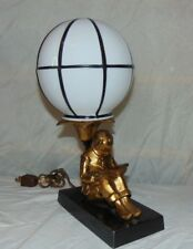 Asian Inspired Bronze Lamp Vintage Japanese Chinese Oriental Boy Studying Table