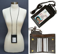 Genuine Leather ID Badge Holder Lanyard Credit Card Zip Bifold Holder Neck Strap