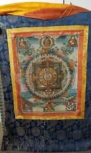 Fine Full Thangka Mandala. Early 1900s. Red insciptions on the back.