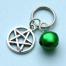 Pentagram Charm & Green Jingle Bell For Dog Or Cat Pet Collar LB30