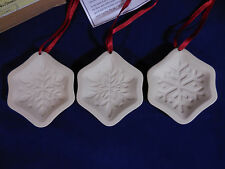 Longaberger Snowflake Cookie Mold Ornaments Set of 3 Pottery White Boxed Set