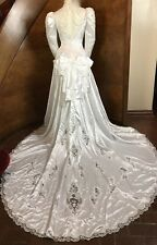 VTG Shiny Satin Cathedral Wedding Dress Sheer Embroidery Lace Ginzscollection