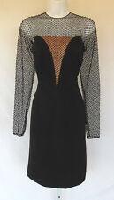 VINTAGE 1950s 60s JOBERE DESIGNER COUTURE RUNWAY DRESS BLACK BEADS POLY SILK?