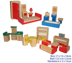 Wooden Doll House Furniture Set 26 Pieces