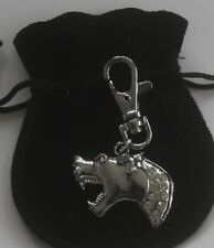 Hound of Baskerville charm with Diamante crystals in black velvet pouch