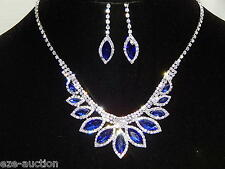 Silver Clear Rhinestone & Blue Marquise Sapphire Party Sets Necklace & Earrings
