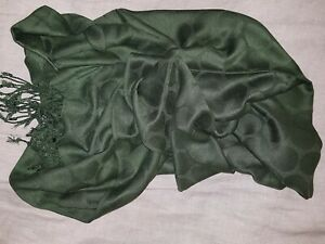 Large Scarf, Dark Olive Green, with Large Self-coloured Spots
