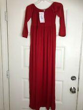 MomToBe Women's Long Off Shoulder Maternity Dress L Ruby Red