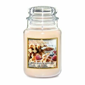 FabFinds 18oz Large Scented Soy Glass Jar Candle Home Fragrance Belgian Waffles