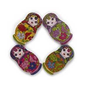 30pcs Matryoshka Wooden Buttons Scrapbooking Sewing Cloth Home Decor DIY 30x17mm