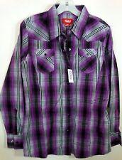 """NWT WALLS RANCH WEAR Women's L Western Cowgirl snap plaid shirt top B=44"""""""