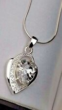 Real 925 Sterling Silver Large CZ Crystal Heart Pendant Necklace Gift 18""