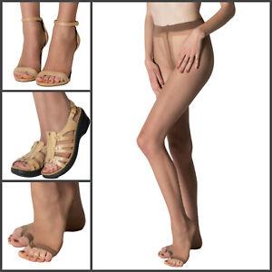 Fiore Eveline 15 Toeless Pantyhose | Sheer to Waist Satin Shine | Black Tan Nude