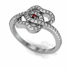 Couturechics Ruby Cocktail Ring Solid White Gold Certified Diamond Jewelry