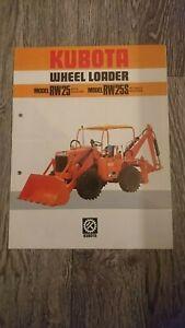 KUBOTA Model RW RW25 RW25S Wheel Loader Original Sales Brochure 1980