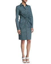 MICHAEL KORS Resort 2016 Aqua Multi twisted front shirt dress NWT 6 $1150.00