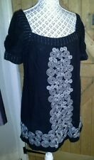 LADIES BLACK MONSOON  TOP WITH PRETTY EMBROIDERY DETAIL SIZE 12 BNWOT