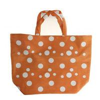Saks Fifth Avenur Large Orange And White Polka Dot Tote Bag New