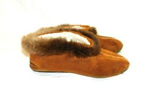 Vintage Alaska Native Indian Size 8 M Moccasin Slippers Suede Leather Beaver Fur