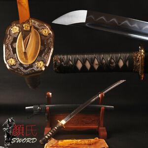 Clay Hardened Samurai Wakizashi Japanese Sword Sharp 1095 Carbon Steel Full Tang