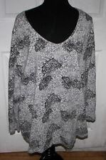 J. Jill Women's 3/4 Sleeve Black Gray White Paisley Top Shirt Size 3X 3 X