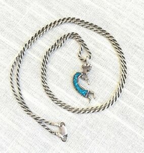 Vtg Sterling Silver Kokopelli Inlaid Turquoise Pendant and Rope Chain Necklace