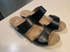 """DANSKO Women's """"Vienna"""" Black Full Grain Leather Slide Sandals Size 40"""