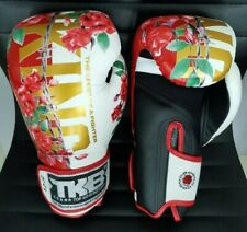 NEW COLLECTION TOP KING BOXING GLOVES WHITE FANCY ROSE 8,10,12,14,16 oz MUAYTHAI