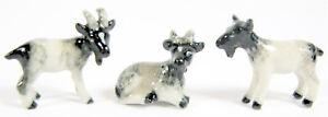 Porcelain Miniature Set of 3 Goats, Black,Grey & White (Mini) Appr 1.75-2.25cm H