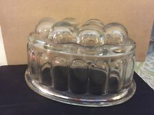 Vintage Depression Pressed Bubble Glass Oval Jello Mold Rare Made England Heavy