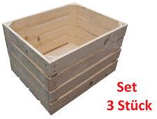 3 Stück NEUE natur Holzkisten Obstkisten Apfelkisten Weinkiste TOP - 3er Set