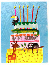 Animal Cake Happy Birthday Party Fun Neon Colours Kids Greeting Card Paper Salad