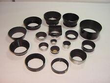 Vtg Lot 17 Lens Hood Lens Shade Metal Rubber Bolex Leica Screw-On Series # MM