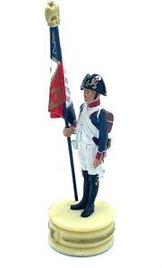 Figurine Ring Flag Of 4e Rég. D'Infantry Soldier Lead 1er Empire 90mm